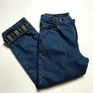 LL Bean Flannel Lined Natural Fit Jeans Pants Mens